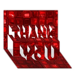 Glossy Tiles,red Thank You 3d Greeting Card (7x5)