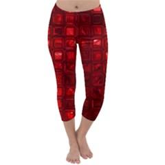 Glossy Tiles,red Capri Winter Leggings