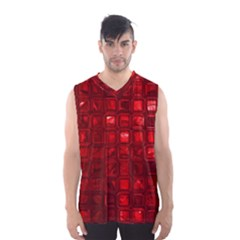 Glossy Tiles,red Men s Basketball Tank Top