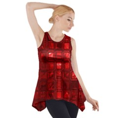 Glossy Tiles,red Side Drop Tank Tunic
