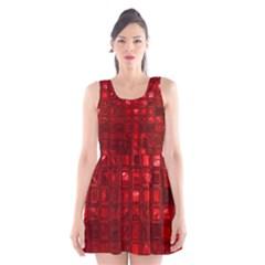 Glossy Tiles,red Scoop Neck Skater Dress