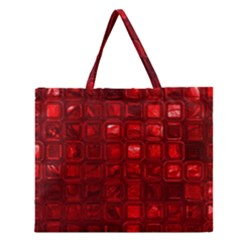 Glossy Tiles,red Zipper Large Tote Bag