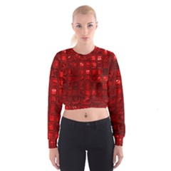 Glossy Tiles,red Women s Cropped Sweatshirt