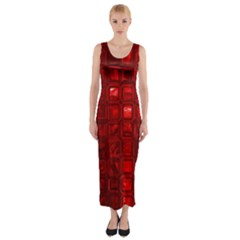 Glossy Tiles,red Fitted Maxi Dress
