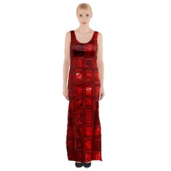 Glossy Tiles,red Maxi Thigh Split Dress