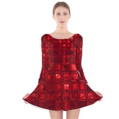 Glossy Tiles,red Long Sleeve Velvet Skater Dress
