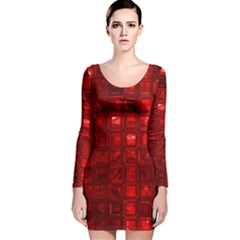 Glossy Tiles,red Long Sleeve Velvet Bodycon Dress