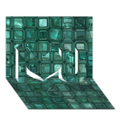 Glossy Tiles,teal I Love You 3d Greeting Card (7x5)