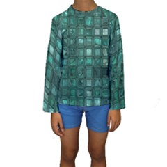 Glossy Tiles,teal Kid s Long Sleeve Swimwear
