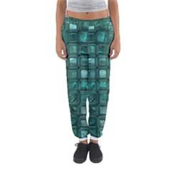 Glossy Tiles,teal Women s Jogger Sweatpants