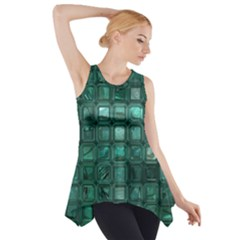 Glossy Tiles,teal Side Drop Tank Tunic