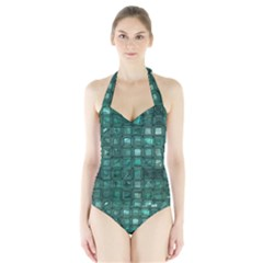 Glossy Tiles,teal Women s Halter One Piece Swimsuit