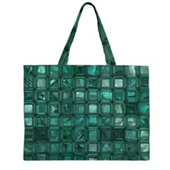 Glossy Tiles,teal Large Tote Bag