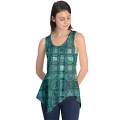 Glossy Tiles,teal Sleeveless Tunic