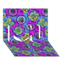 Collage Ornate Geometric Pattern I Love You 3d Greeting Card (7x5)