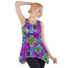 Collage Ornate Print Side Drop Tank Tunic