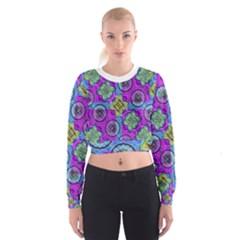 Collage Ornate Print Women s Cropped Sweatshirt