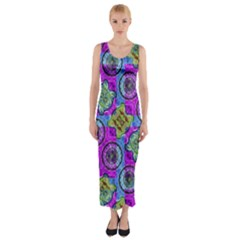 Collage Ornate Print Fitted Maxi Dress