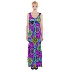 Collage Ornate Print Maxi Thigh Split Dress