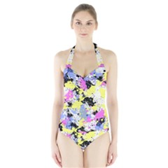 Abstract Women s Halter One Piece Swimsuit