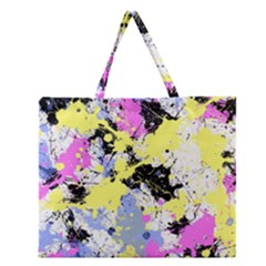 Abstract Zipper Large Tote Bag