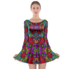 May Your Wonderful Dreams Come True In Fauna   Long Sleeve Skater Dress