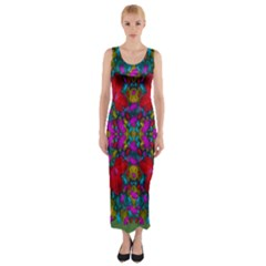 May Your Wonderful Dreams Come True In Fauna   Fitted Maxi Dress