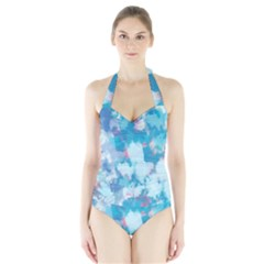 Abstract #2 Women s Halter One Piece Swimsuit
