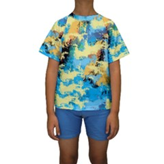 Abstract #4 Kid s Short Sleeve Swimwear