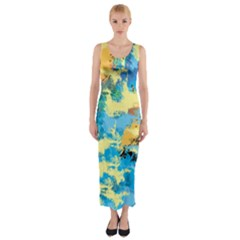 Abstract #4 Fitted Maxi Dress