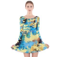 Abstract #4 Long Sleeve Velvet Skater Dress