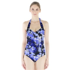 Abstract #7 Women s Halter One Piece Swimsuit