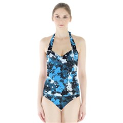 Abstract #8 Women s Halter One Piece Swimsuit