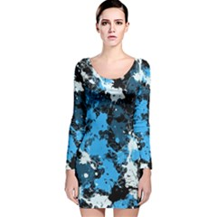 Abstract #8 Long Sleeve Velvet Bodycon Dress