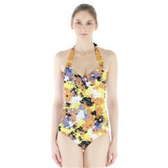 Abstract #9 Women s Halter One Piece Swimsuit