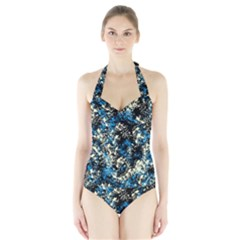 Abstract #15 Women s Halter One Piece Swimsuit