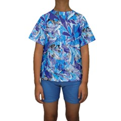 Abstract Floral Kid s Short Sleeve Swimwear