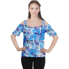Abstract Floral Women s Cutout Shoulder Tee
