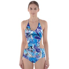 Abstract Floral Cut-Out One Piece Swimsuit