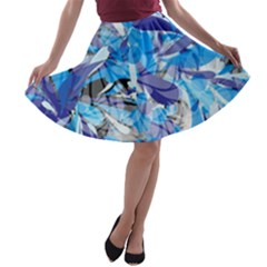 Abstract Floral A Line Skater Skirt