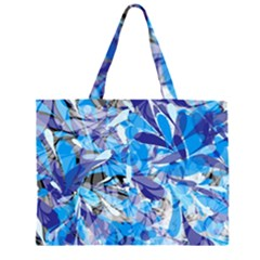 Abstract Floral Zipper Large Tote Bag
