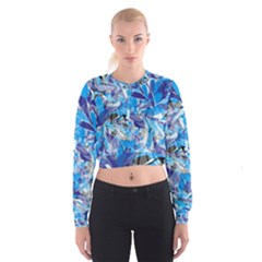 Abstract Floral Women s Cropped Sweatshirt