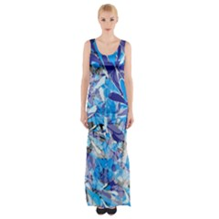 Abstract Floral Maxi Thigh Split Dress