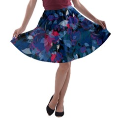 Abstract Floral #3 A Line Skater Skirt