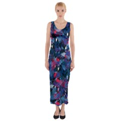 Abstract Floral #3 Fitted Maxi Dress