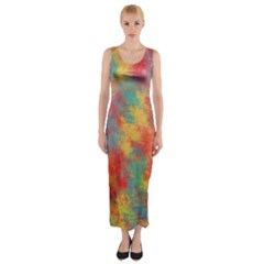 Abstract Elephant Fitted Maxi Dress
