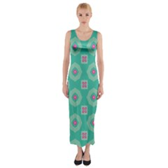 Pink flowers and other shapes pattern  Fitted Maxi Dress