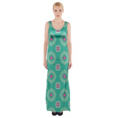 Pink flowers and other shapes pattern  Maxi Thigh Split Dress