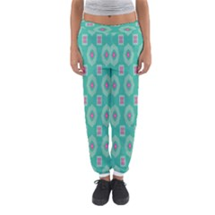 Pink flowers and other shapes pattern  Women s Jogger Sweatpants