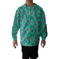 Pink Flowers And Other Shapes Pattern  Hooded Wind Breaker (kids)